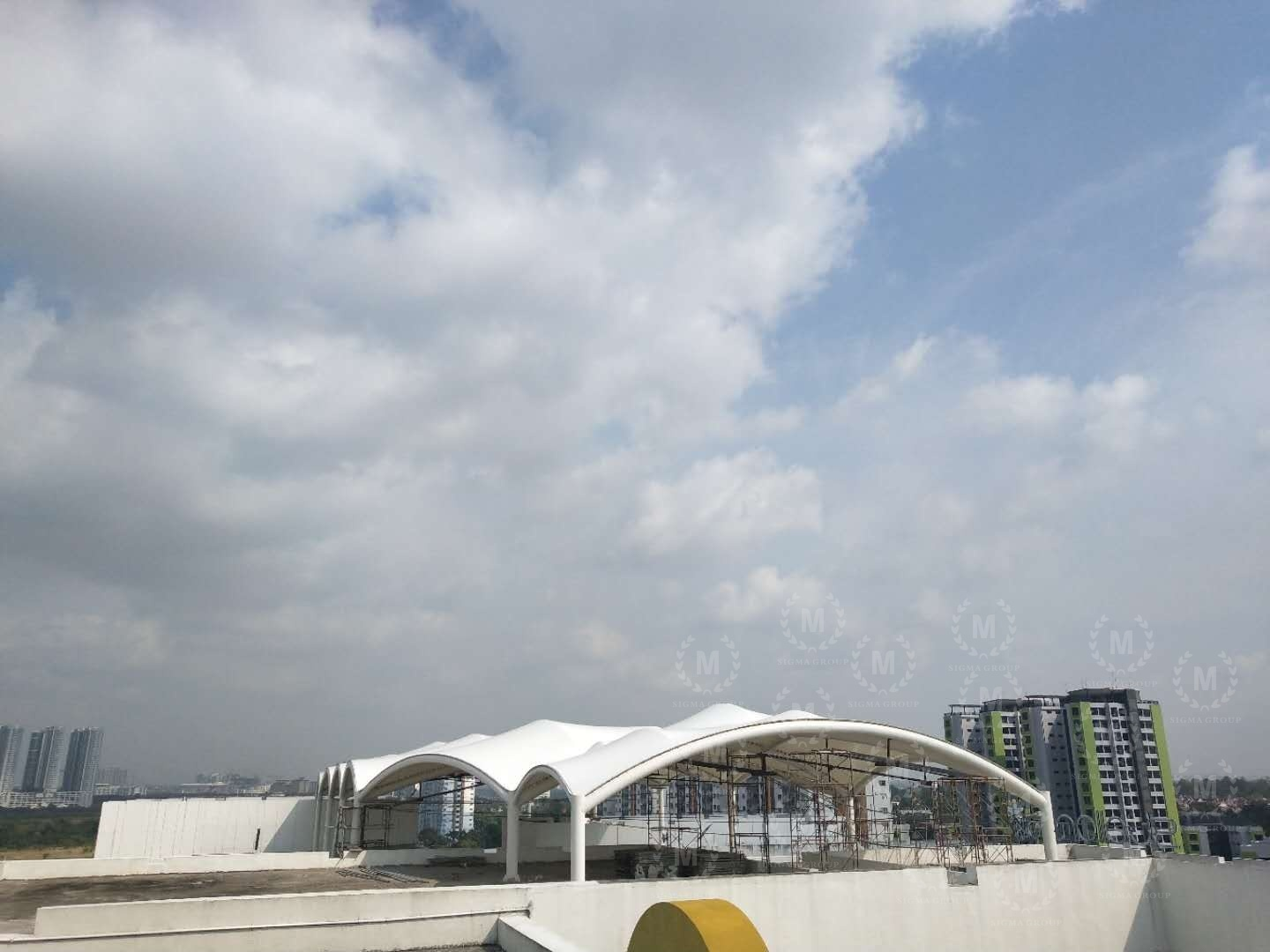 roof canopy,tensile membrane structure,tent canopy,steel structure