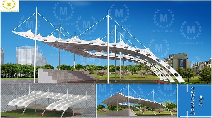 Gate stadium viewing membrane structure